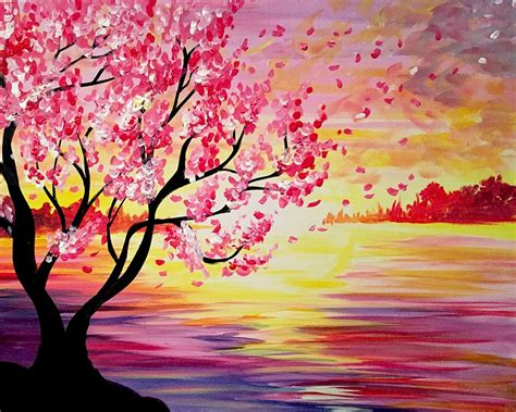 paint nite west island paint nite sunset cherry blossoms