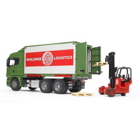 Camion Scania Cu Container Si Stivuitor Portabil Bruder 03580 Sc