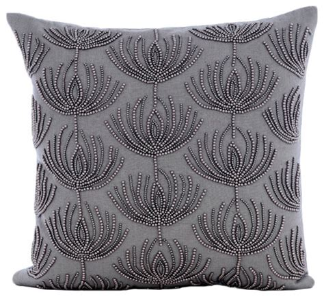 waterford pearl pillow ornament beaded lotus pattern 16x16 cotton linen gray throw pillows cover pearl harvest asian