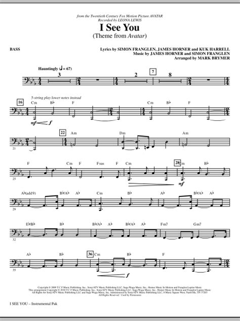 theme music avatar i see you theme from avatar bass sheet music direct