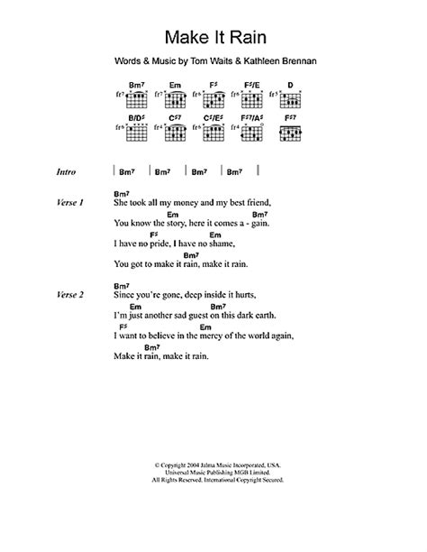 blue lyrics tom waits make it sheet by tom waits lyrics chords
