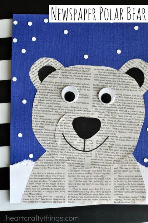bear pattern for kindergarten newspaper polar bear craft bear crafts newspaper crafts