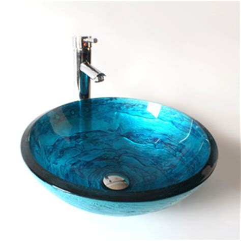 cobalt blue vessel sink thicken mediterranean style
