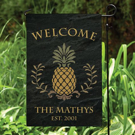 personalized garden flags pineapple welcome personalized garden flag personalized planet