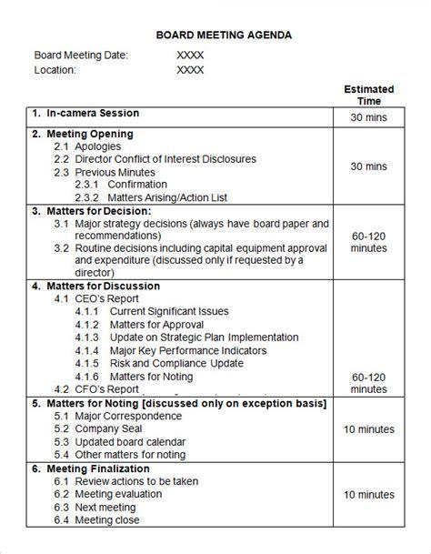 Sample Board Meeting Agenda Template   11  Free Documents