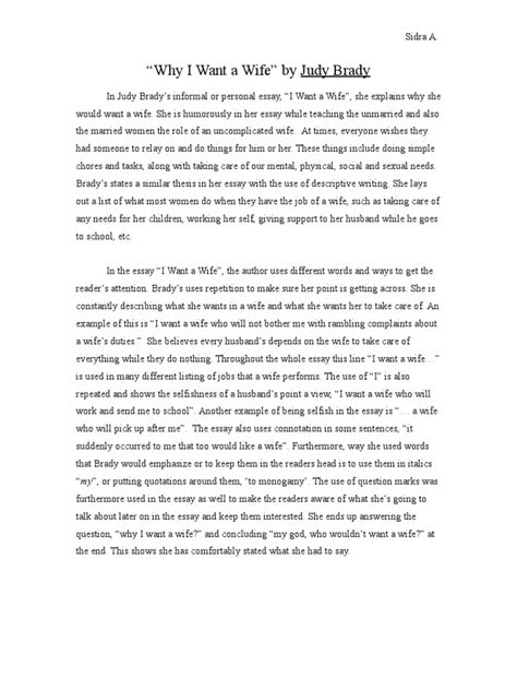 Judy Brady I Want A Essay by I Want A Essay I Want A Judy Brady Essay Thesis Writing The Homework Ayucar