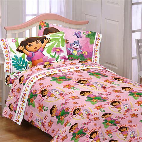 dora bedroom set nickelodeon dora sheet sets quot run skip jump quot walmart com
