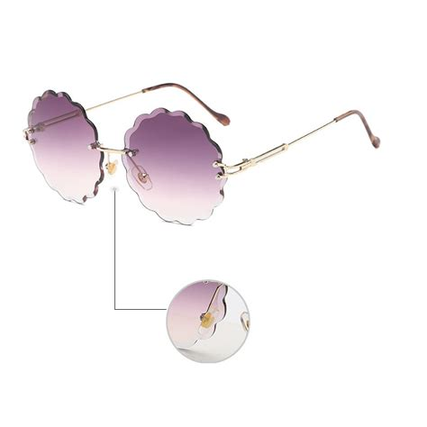 Kacamata Fashion kacamata fashion wanita frameless flower cut sunglasses