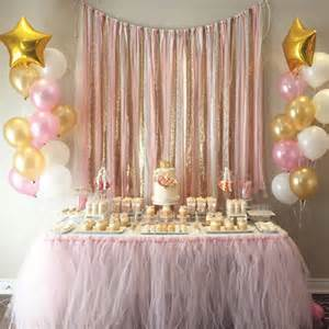pink gold garland backdrop birthday baby shower by