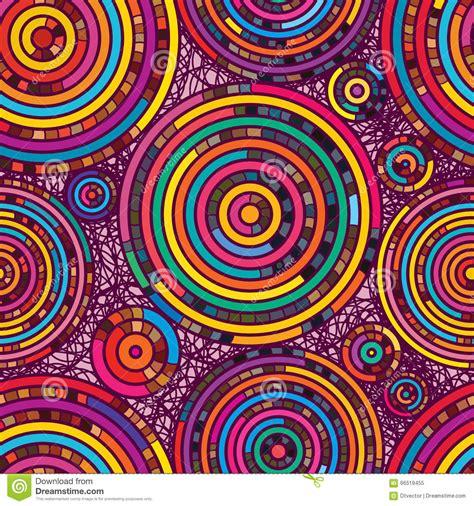 random color circle line random color seamless pattern stock image