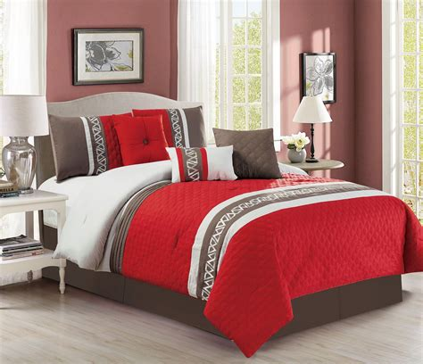 7 piece diamond quilted red taupe comforter set