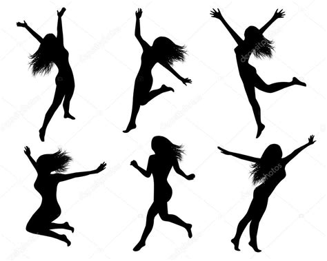 Set Jump set silhouettes of jumping stock vector