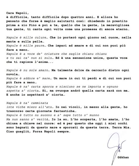lettere d commoventi napoli commovente lettera d addio di inler ita sport press