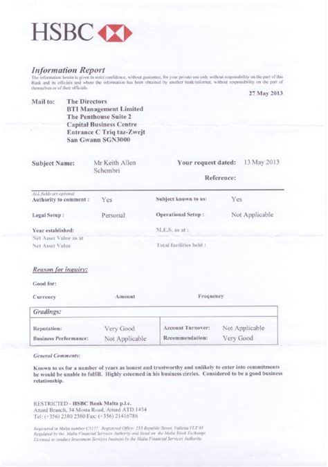 Proof Of Funds Letter Hsbc Hsbc Bank Documents Used By Prime Minister S Chief Of Staff And Brian Tonna May Be Fraudulent