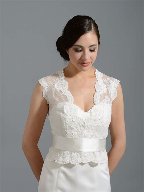 Wedding Jackets front open ivory alencon lace wedding jacket wj015