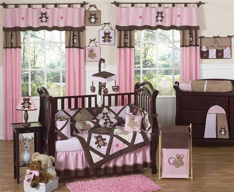 pink and brown baby room teddy bear pink crib bedding collection