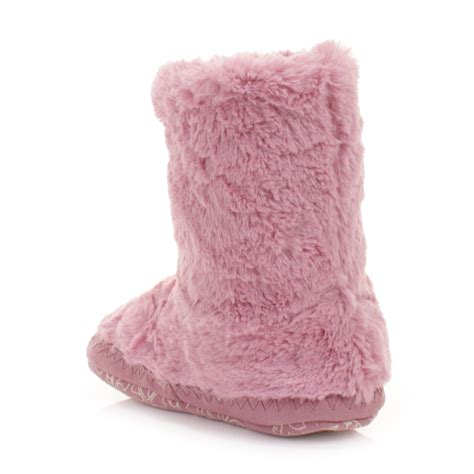 bedroom slipper boots womens bedroom athletics marilyn pink faux fur