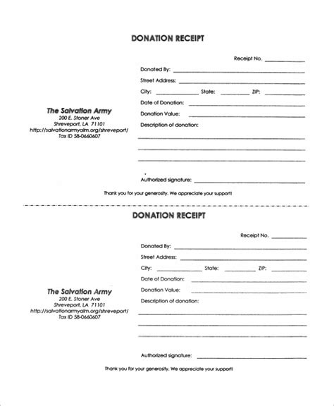 salvation army donation receipt template sle donation receipt 10 exles in word pdf