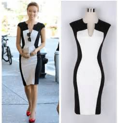 Dress women s black and white patchwork pencil dress women v neck
