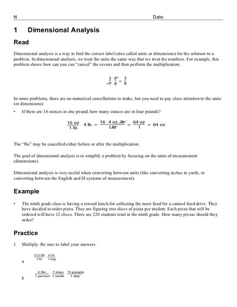 Chemistry Dimensional Analysis Worksheet by 1 3 Dimensional Analysis Fractions