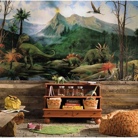 dinosaur wall mural new xl dinosaurs prepasted wallpaper mural boys bedroom dinosaur wall decor ebay