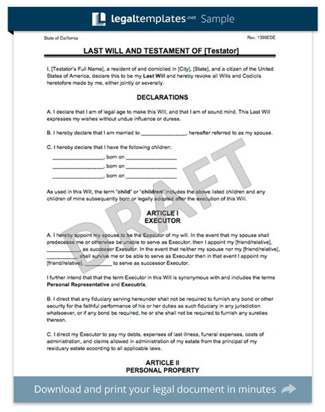free last will and testament templates create a last will and testament templates