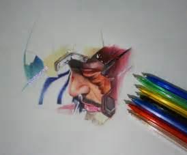 colored ballpoint pen drawing tony stark wip by cloelali11