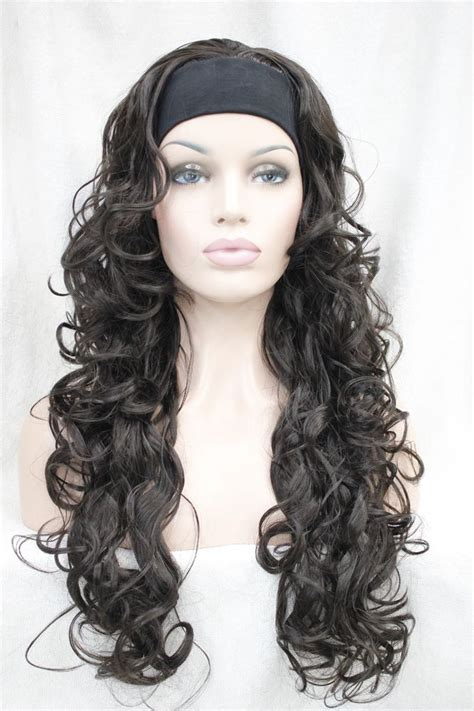 new fashion brown wig s wavy new vogue 3 4 wig with headband brown curly womens
