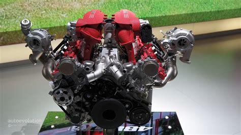 ferrari 488 engine ferrari 488 gtb joined by 3 9l twin turbo v8 display at