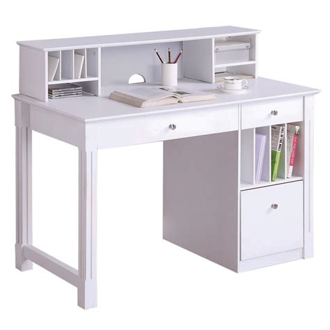 walker edison deluxe solid wood desk w hutch white by