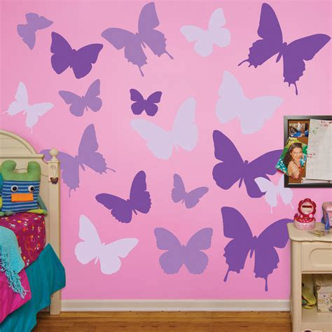 purple butterflies realbig wall decal