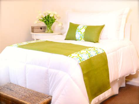 Bed Runners And Matching Pillows by Apple Green Bed Runner Accented By Fringe Comes With One