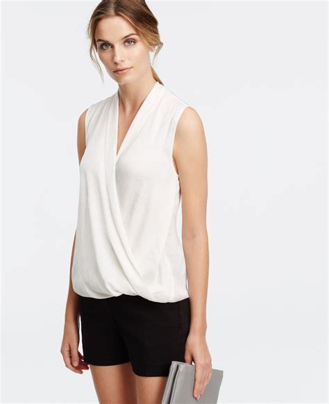 Witer Blouse By silky sleeveless wrap blouse in white winter