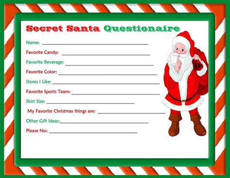 secret cards free printable secret santa questionaire made by dollie