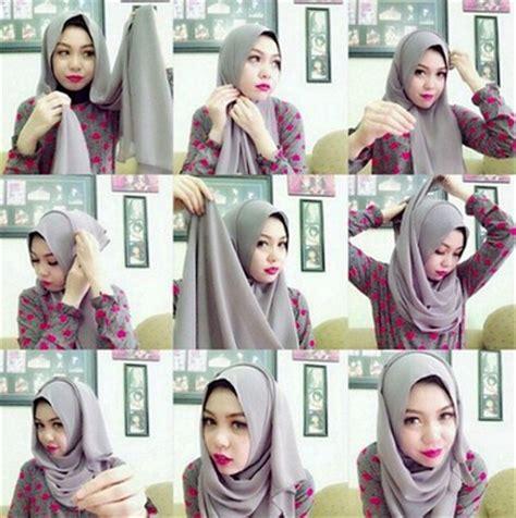 gambar tutorial hijab formal gambar cara memakai hijab pashmina lilit gaya baru