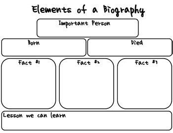basic biography graphic organizer this graphic organizer can help students to organize their