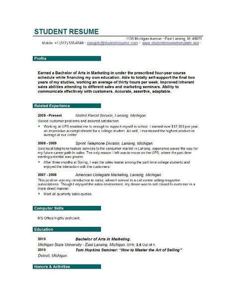 Sles Of Resumes For College Students by Student Resume Form