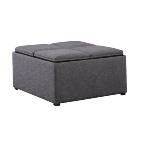 Grey Ottoman Coffee Table Simpli Home Avalon Linen Type Fabric Coffee Table Storage Ottoman In Slate Grey Ay F 07 Gl The