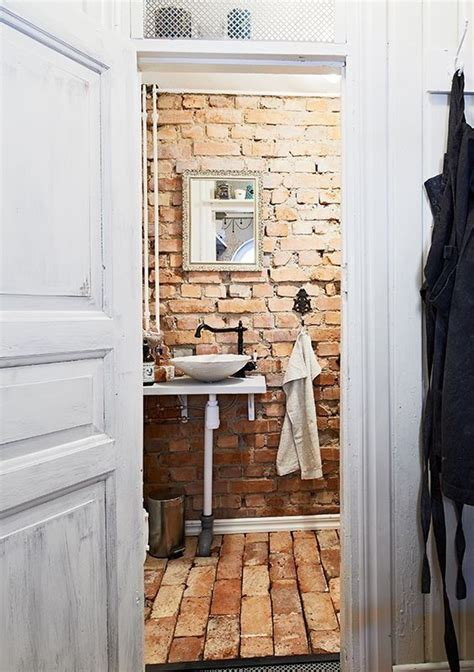 brick bathroom bathroom decor exposed brick accent walls pinterest