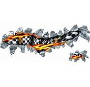 Flag Decals  Flaming Checkered Tear Decal / Sticker