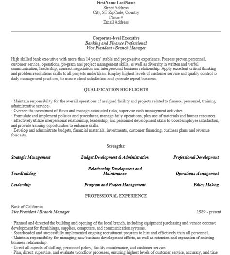 Retail Banking Executive Sle Resume by 16 Free Sle Banking Executive Resumes Sle Resumes 2016