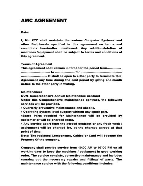 Annual Maintenance Contract Letter Format Sle computer service agreement contract computer service