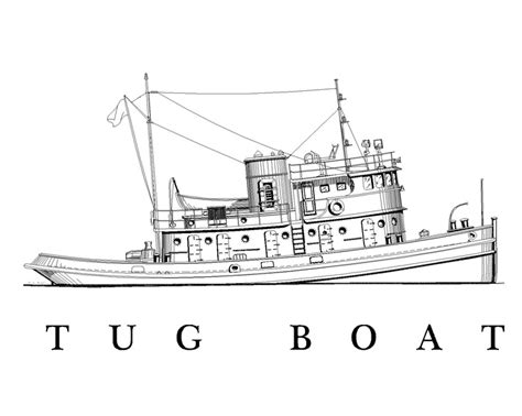 tugboat drawing drawn boat tugboat pencil and in color drawn boat tugboat