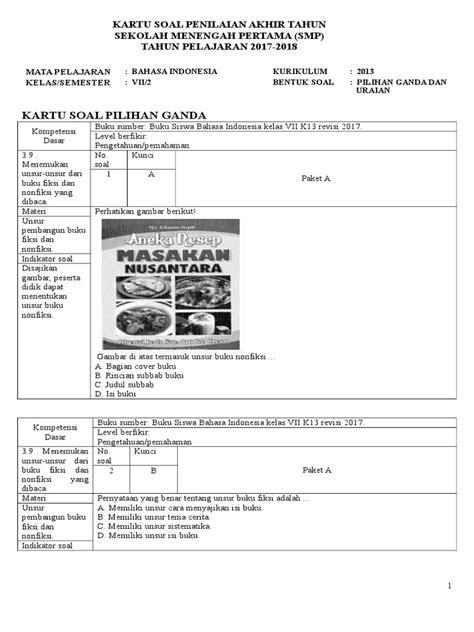 Contoh Soal Buku Fiksi Dan Nonfiksi Kelas 8