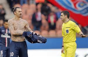 ibrahimovic tattoo yellow card psg 2 2 caen zlatan ibrahimovic and co throw away two