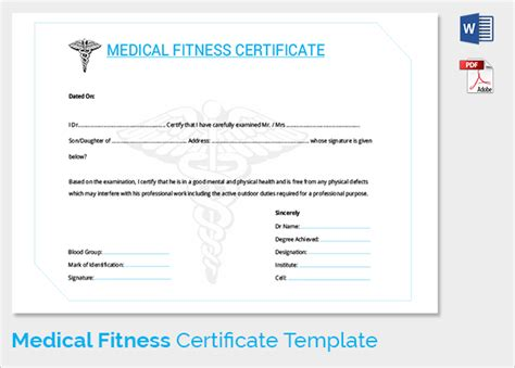 sample medical certificate downloadable medical certificate format
