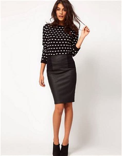 asos asos pencil skirt in leather look at asos