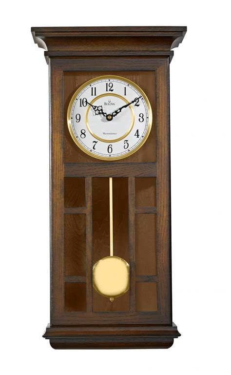 wooden wall clock clockway bulova triple chiming wooden wall clock in