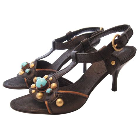 Sale Miu2 Size 38 Only miu miu black leather sandals and stones size 38 for sale at 1stdibs