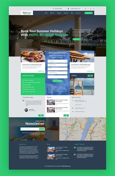 Hotel And Resort Booking Website Template Free Psd Psdfreebies Com Guest House Website Templates Free
